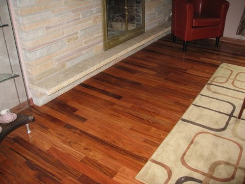 Brazilian tiger mahogany angico solid prefinished for Prefinished solid hardwood flooring