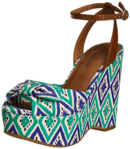 Lucky Brand Women's Viera Bali Diamond Print Maldives Blue Ankle Strap 5.5 UK
