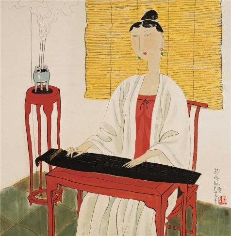 Oil Painting 'Hu Yongkai,Woman Playing The Zither,21th Century' 12 x 12 inch / 30 x 31 cm , on High Definition HD canvas prints is for Gifts And Foyer, Home Theater And Nursery Decoration (Semi Gloss Tile Sealer compare prices)