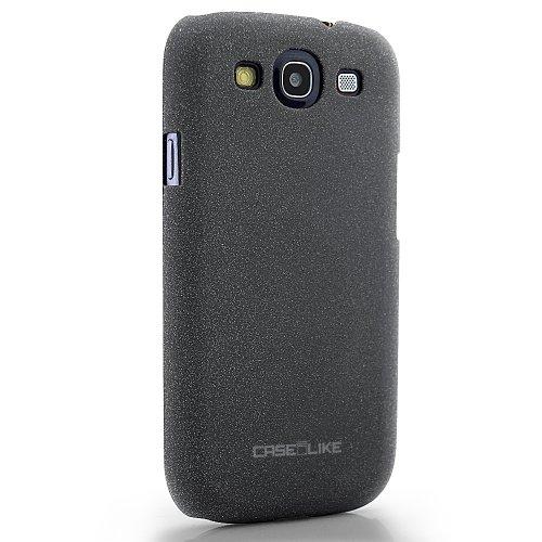 CaseiLike®, Grau, Treibsand gummierte rutschsichere S3-Snap-on zurück Gehäuse für Samsung Galaxy S3 S 3 S III SIII i9300 mit Displayschutzfolie 1pcs.