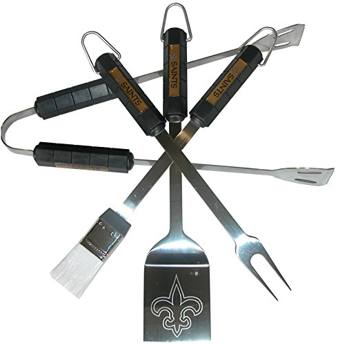 Nfl 4-Piece BBQ Set: New Orleans Saints *** Product Description: Nfl 4-Piece BBQ Set: New Orleans Saintstailgating Never Looked So Good! This Stainless Steel BBQ Set Is A Perfect Way Of Showing Your Team Pride On Game Day. Each Utensil Is Printed ***