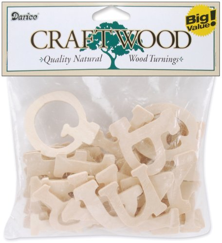 Darice 637473 1.75 in. x 3mm Wood Letters - Casual Day - 36-Package - 1