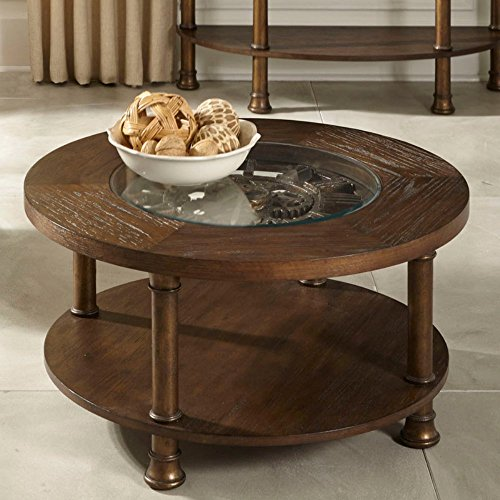 Liberty Furniture Clockworks Round Antique Coffee Table, Brown, Tempered Glass