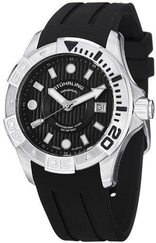 Stuhrling Original Men's 718.02 Aquadiver Manta Ray Swiss Quartz Professional Diver Black Dial Watch