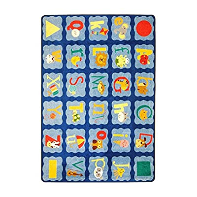 "Joy Carpets Kid Essentials Infants & Toddlers Alphabet Blues Rug, Multicolored, 7'8"" x 10'9"""