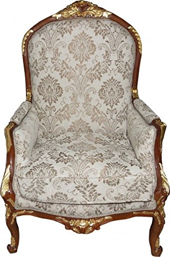 Casa Padrino Baroque Salon Chair Cream / Brown / Gold Mod1 - furniture antique style - Limited Edition