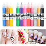SODIAL(R) 12 Colors Diy 3D Nail Art Painting Polish Pen Set