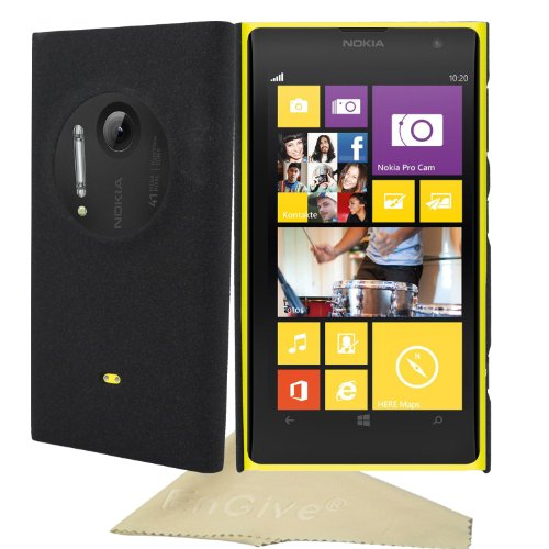 EnGive Nokia Lumia 1020 EOS Slim Snap-on Fit Matte Quicksand Hard Cover Case Shell with Cleaning Cloth (Black)