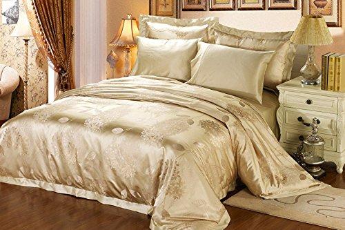 Orifashion Luxury 5-Piece Beige Baroque-style 100% Silk Yarn-dyed Jacquard And Charmeuse Bedding Set, California King Size