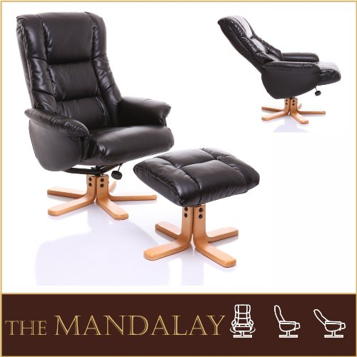 The Mandalay - Bonded Leather Recliner Swivel Chair  &  Matching Footstool in Black