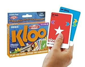 Jeux de cartes linguistiques de KLOO: Apprenez à parler français (depuis l'anglais) - Jeu 1 (Paquets 1 & 2)