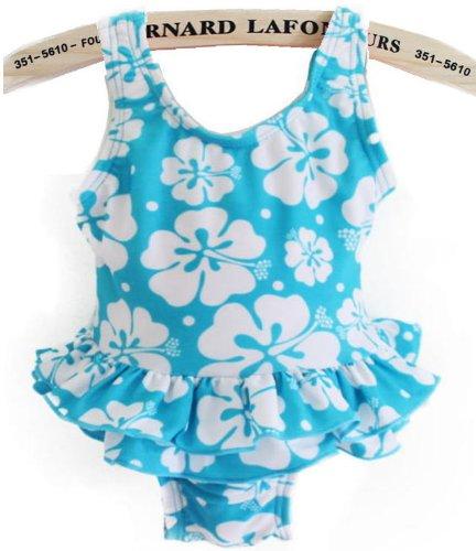 アメリカ Kids Swim wear ベビーワンピース水着 スイムウエア blue Flower size:60cm~110cm (18M(80cm))
