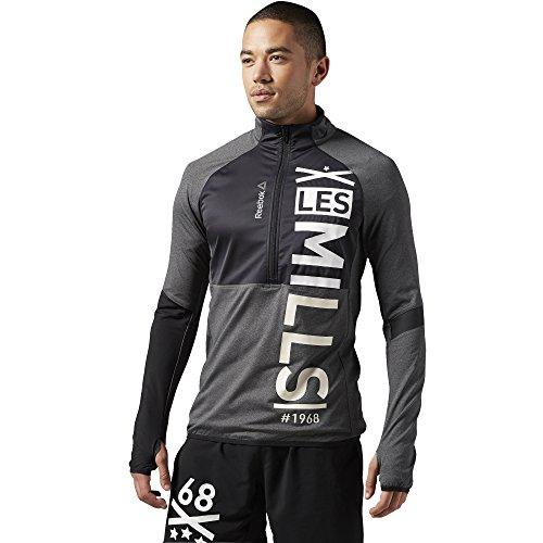 Maglione da uomo Reebok Sport Les Mills con mezza Zip, Dark Grey Heather, 2XL, AJ1731
