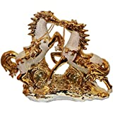 Odishabazaar Running Horse Idol Figurine In Golden Color Perfect For Home Decor & Gift (13.5x10x4) Inch - B01C9ZL7O6