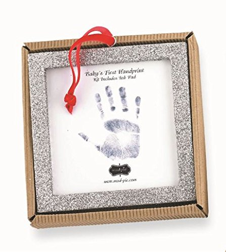 Mud Pie Glitter Handprint with Ink Pad, Square Frame