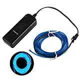 Onite 16.4ft Blue Neon Glowing Strobing Electroluminescent EL Wire Light with Battery Pack Controller for Parties, Halloween, Automotive, Advertisement Decoration