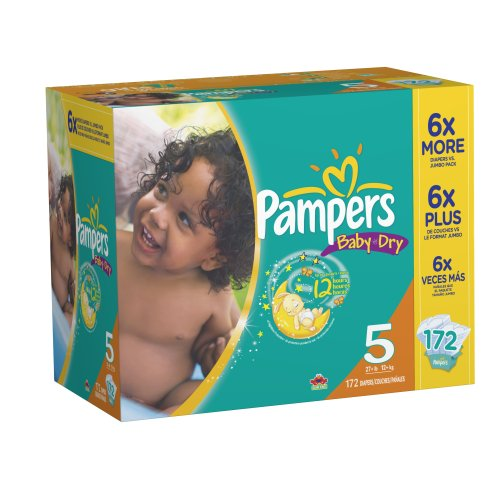 Pampers Baby Dry Diapers Economy Plus Pack Size 5, 172 Count