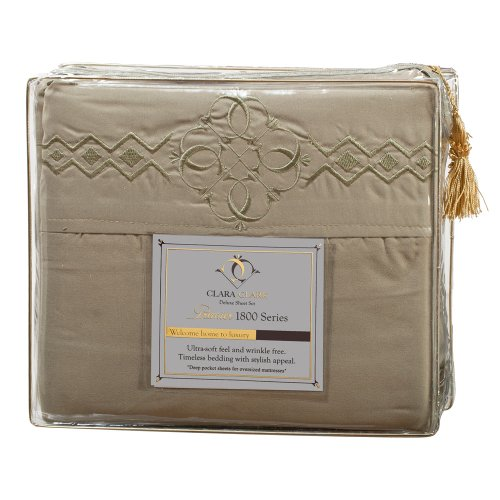Ultimate Clara Clark Premier 1800 Bed Sheet Set - With Majestic Embroidery - Cal King Size, Sage Olive Green front-981358