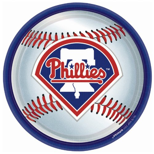 Amscan Philadelphia Phillies Round Dinner Plates, 9""