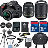 Nikon D5500 DSLR Camera Body Celltime Exclusive Bundle with Nikon 18-55mm VR Lens + Nikon 55-200mm VR Lens + HD U.V. Filter + Deluxe Camera Case + Celltime 6pc Starter Kit + Full Size Tripod + Electronic Flash + 2pcs 16GB Commander Extremespeed Memory Cards + Accessory Kit
