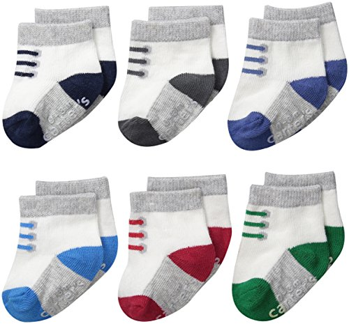 Carter's Baby-Boys Newborn Sneaker Socks, Multi, 0-3/Medium Months (Pack of 6)
