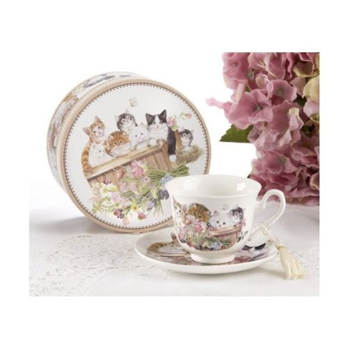 Porcelain Tea Cup And Saucer In Gift Box - Cats