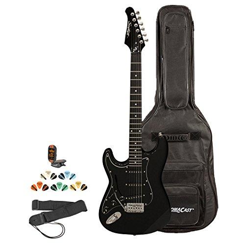 Sawtooth St-Es-Lh-Bkb-Kit-2 Left Handed St Style Electric Guitar In Black With Black Pickguard, Lesson, Gig Bag, Picks, Tuner And Strap