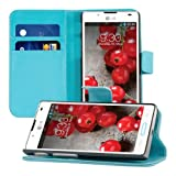 Elegant leather case for the LG Optimus L7 II P710 with magnetic fastener and stand function in Blue from kwmobile