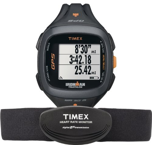 Timex Unisex T5K742 Ironman Run Trainer 2.0 GPS Digital HRM Black/Orange Watch & Flex Tech Chest Strap