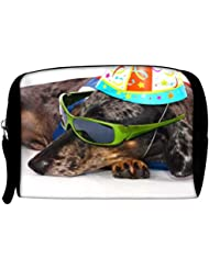 Snoogg A Dogs Life Having Fun At A Party Travel Buddy Toiletry Bag / Bag Organizer / Vanity Pouch