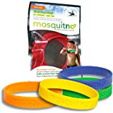 Mosquitno 5-Pack Natural Mosquito Repellent Wristbands, Kid, Red/Orange/Green/Navy/Yellow