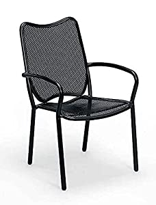 Amazon.com : All Weather Wrought Iron Dining Chair w Arms