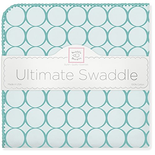 SwaddleDesigns Ultimate Receiving Blanket, Jewel Tone Mod Circles, Turquoise