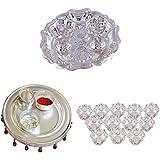 GS MUSEUM Silver Plated Rani Kumkum Plate, Silver Plated 4 Inchi Pooja Thali Nag And Silver Plated Set Of 12 Lotus...