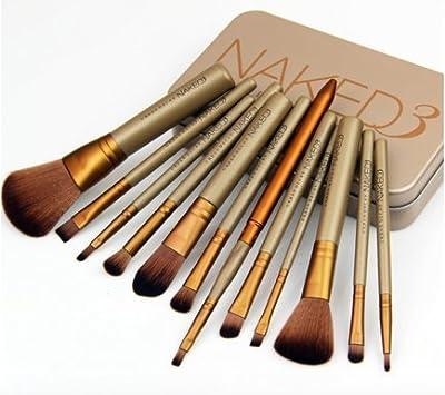 Naked 3 makeup cosmetic brush set 12 pcs travel size with metallic case