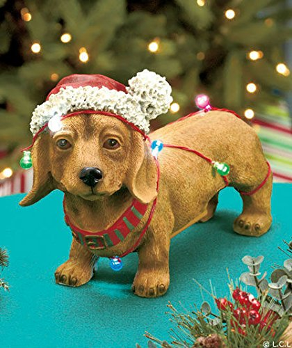 Doggie Figurine, Christmas Holiday Led Lights (Dachshund, Beagle, Black Lab, Pug, Yorkie) (Dachshund)
