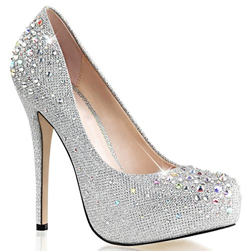 Women Silver Glitter Pumps Shoes with 5 Inch Heels and Rhinestone Embellishment
