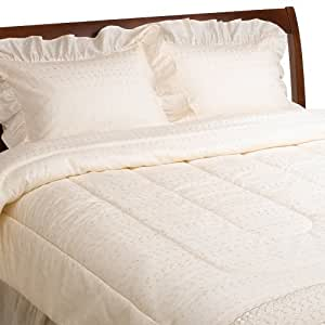 Ivory Poly/Cotton Eyelet Comforter Set, Queen Size