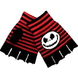 The Nightmare Before Christmas style Gloves Fingerless Mitts Jack Skellington Black Red Stripe One Size