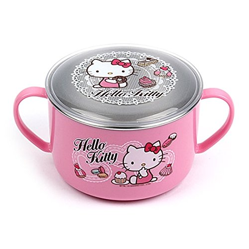 Lock & Lock Hello Kitty Baby Lace children Stainless steel noodle bowl with Handle and Lid LKT482