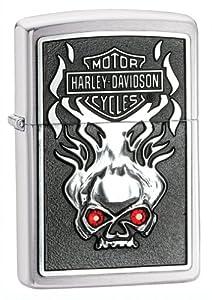 Zippo H-D Skull Red Crystal Emblem Pocket Lighter by Zippo