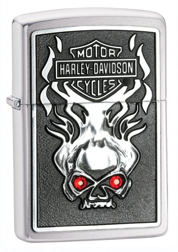 Zippo H-D Skull Red Crystal Emblem Pocket Lighter