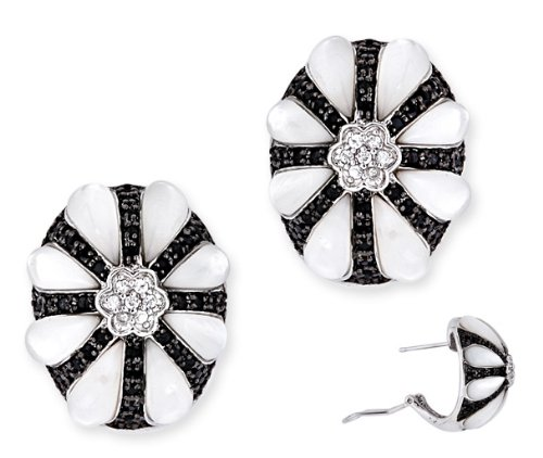 Dramatic C.Z. Black Clear Diamonds Mother-Of-Pearl Inlay Flower Earrings (Nice Holiday Gift, Special Black Firday Sale)