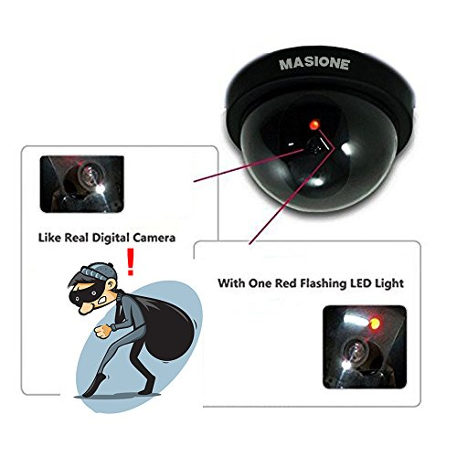 Masione® 4 Pack Indoor Outdoor CCTV Fake Dummy Dome Security Camera With  Flahsing RED LED Light