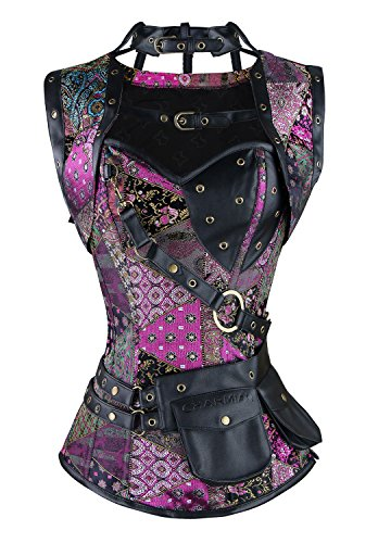 Charmian Women's Spiral Steel Boned Steampunk Gothic Vintage Overbust Corset with Jacket and Pouches Purple Large