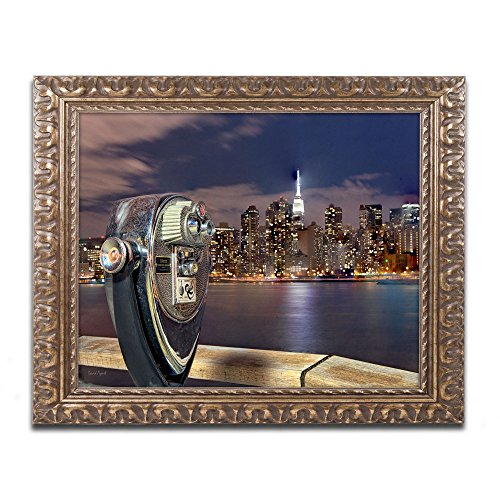 Trademark Fine Art Midtown Over The East River Iii Artwork By David Ayash, 16 By 20-Inch, Gold Ornate Frame