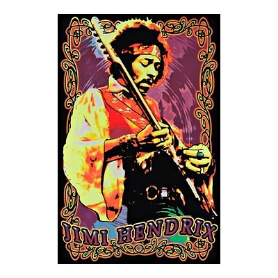 Jimi Hendrix Guitar Flocked Blacklight Music Poster Print - 24X36 Custom Fit With Richandframous Black 24 Inch Poster Hangers