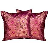 Jaipur Raga Jacquard Silk Cushion Cover 2 Piece Set - Purple, 16X16 Inch