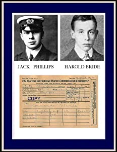 8x10 Photo of Jack Phillips & Harold Bride Wireless Operators on Titanic & the Message Sent to the Olympic.