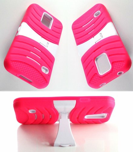 Mylife (Tm) Hot Pink And White - Shockproof Survivor Series (Built In Kickstand + Easy Grip Ridges) 2 Piece + 2 Layer Case For New Galaxy S5 (5G) Smartphone By Samsung (Internal Flex Silicone Bumper Gel + Internal 2 Piece Rubberized Fitted Armor Protector